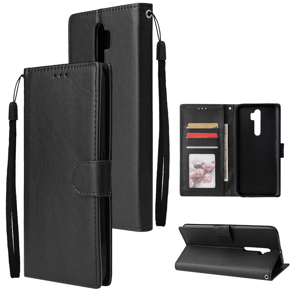 For Oppo A9 2020/Reno 2Z Cellphone Shell PU Leather Mobile Phone Cover Stand Available Anti-drop Elegant Smartphone Case Black