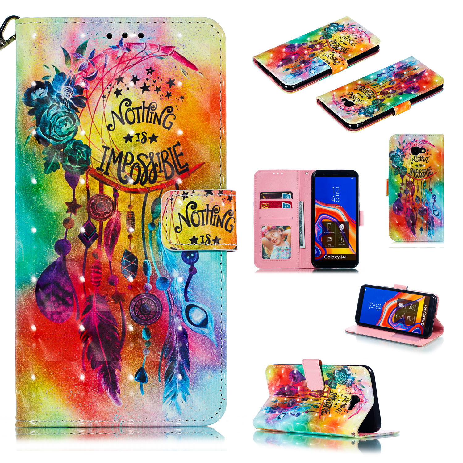 For Samsung J4+/J4 PLUS Cool 3D Coloured Painted PU Magnetic Clasp Wallet Phone Case with Bracket Lanyard Flower wind chimes