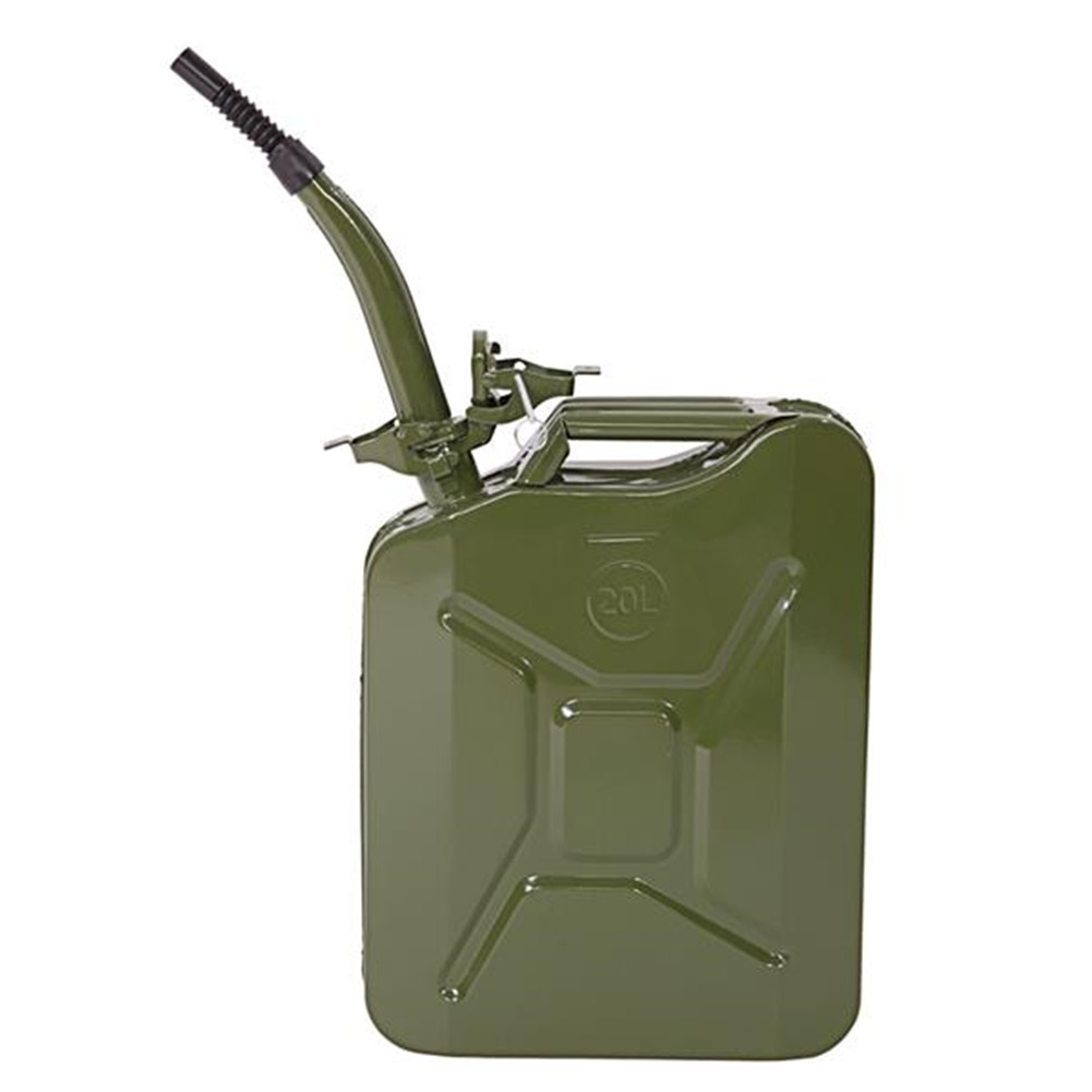 [US Direct] 20L 0.6mm Fuel Can Portable Steel Oil Can Petrol Diesel Storage Can For Fuels Gasoline    ArmyGreen
