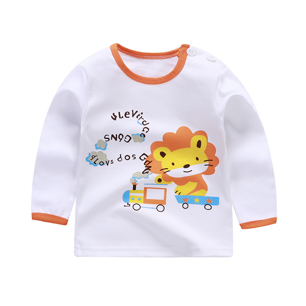 Children's T-shirt  Long-sleeved Cartoon Print All-match Top for 1-5 Years Old Kids A_100cm