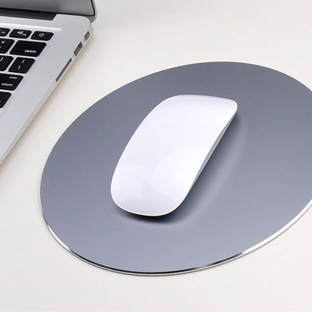 Round Mouse Mat Aluminum Anti Slip Rubber Bottom Gaming Mouse Pad Computer Accessory gray_20CM