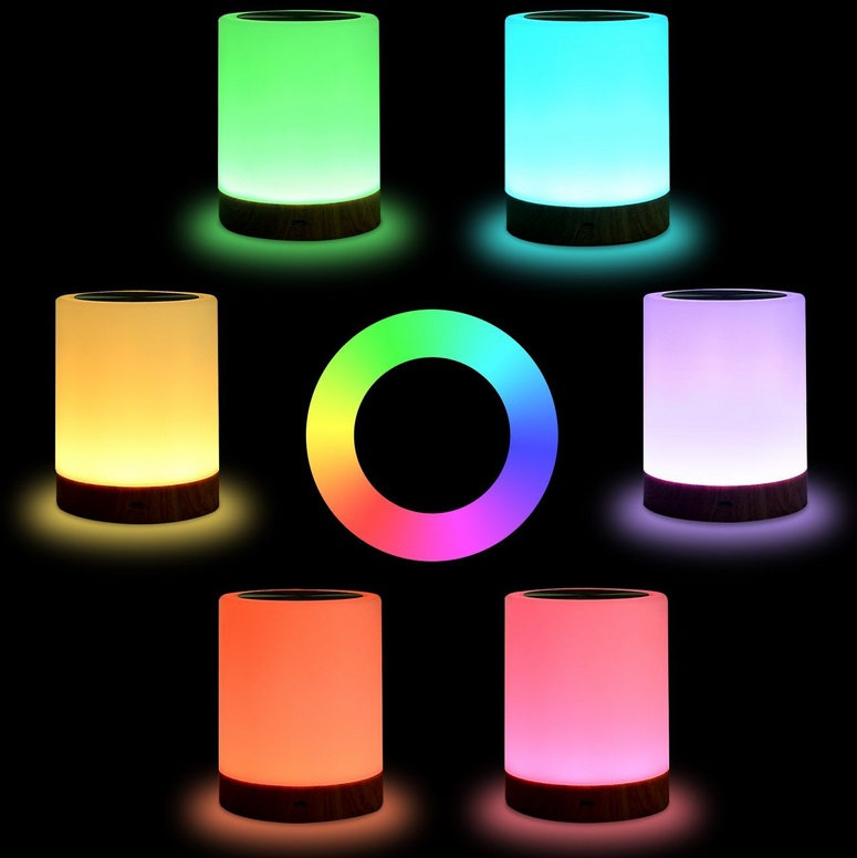 Seven Color Wood Grain Charging Night Lamp Bedside Light Table Lamps Touch Pat Ambience Lighting Cylindrical