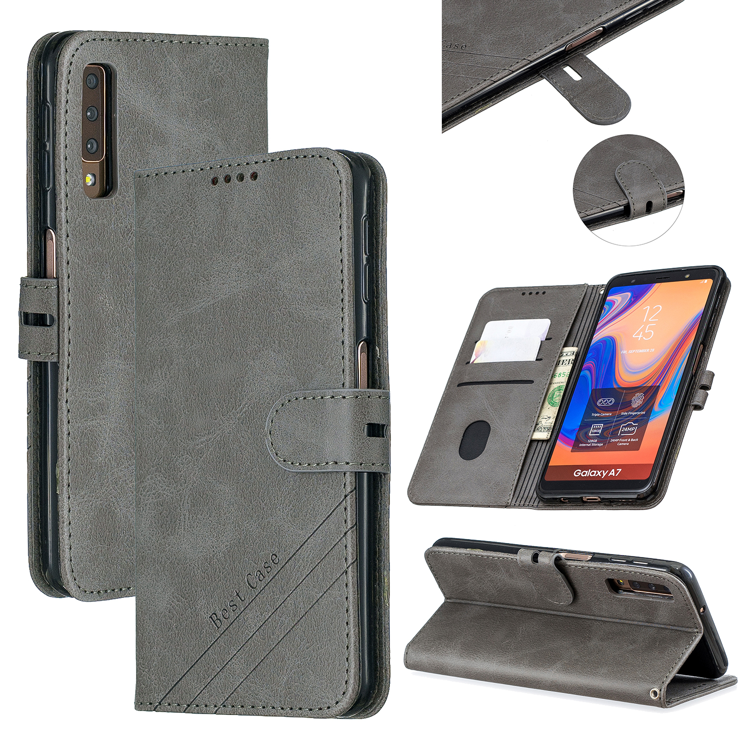 For Samsung A7 2018 Denim Pattern Solid Color Flip Wallet PU Leather Protective Phone Case with Buckle & Bracket gray