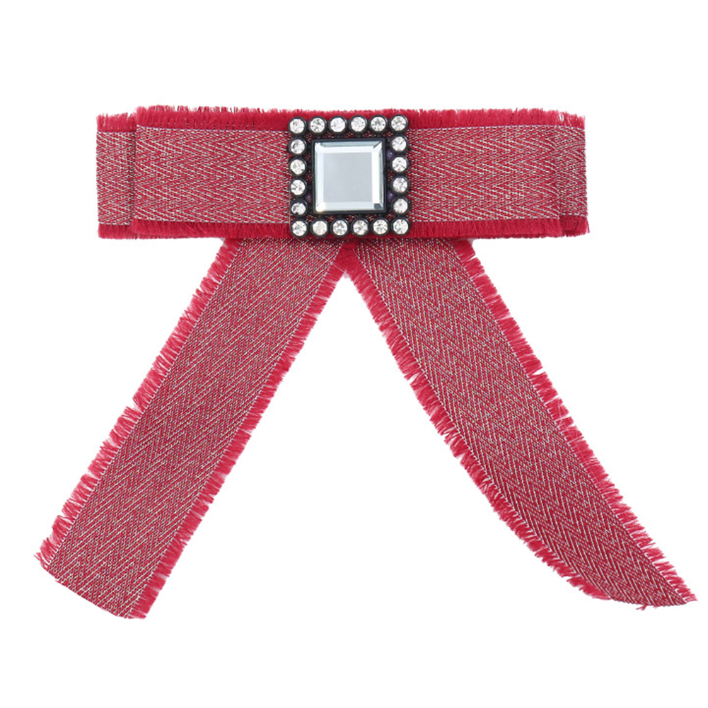 Women Fashionable Square Diamond Brooch Preppy Style Fabric Bow Tie as Perfect Gift