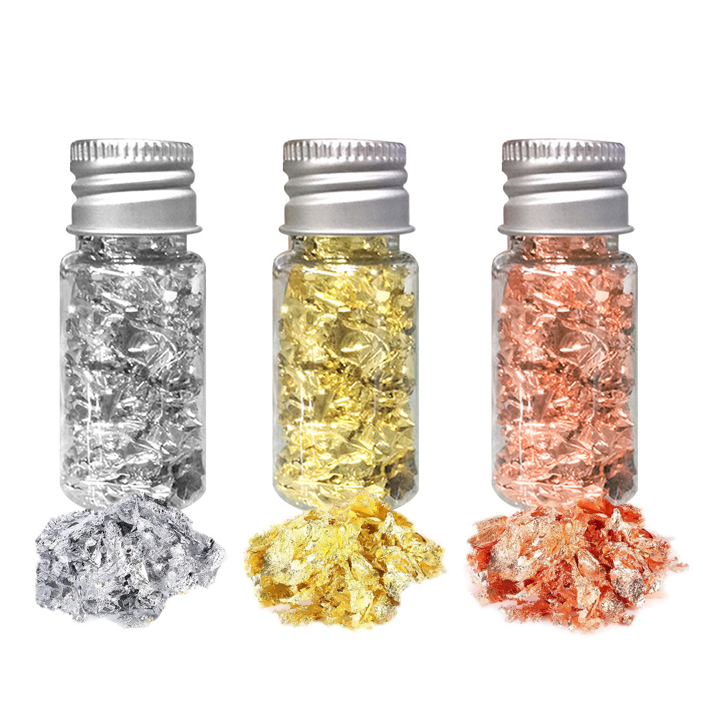 Gold  Foil  Flake For Resin Imitation Leaf Nails Painting Crafts Diy Jewelry Making Tricolor