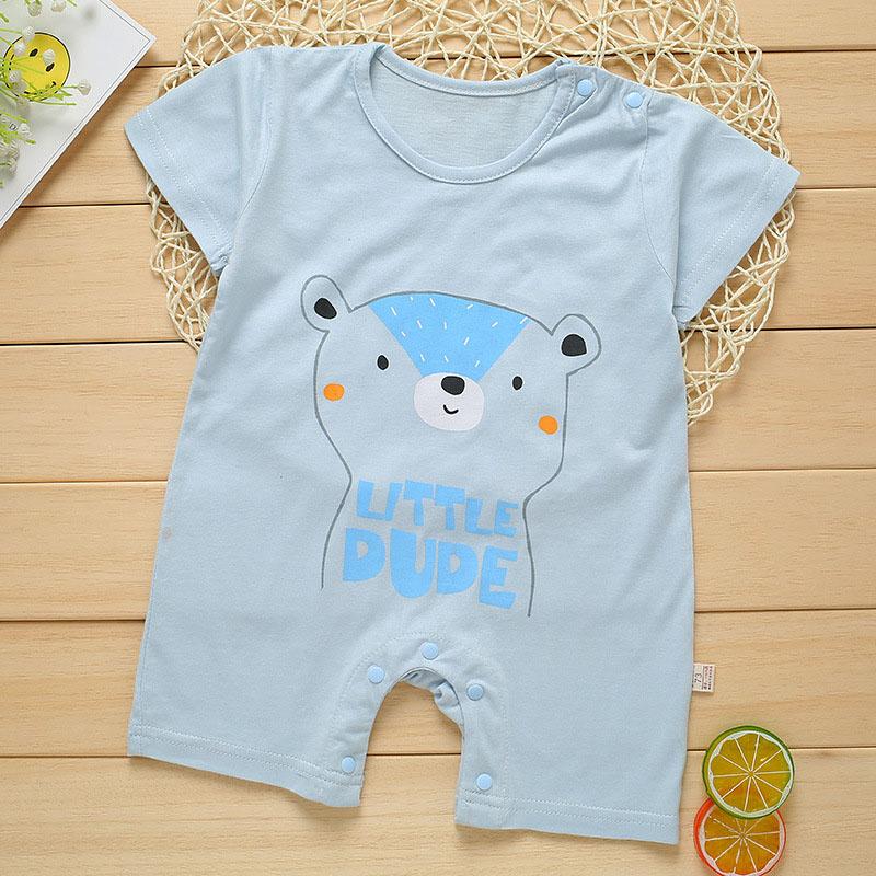 Summer Cute Cartoon Bear Pattern Printing Thin Short Sleeve Romper for Infnat Baby