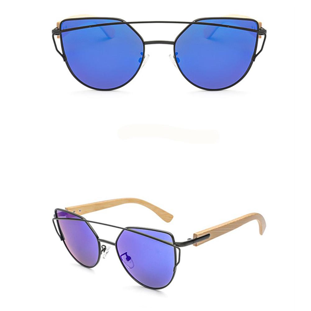 UV400 Fashion Bamboo Leg Metal Frame Lightweight Colorful Lens Sunglasses