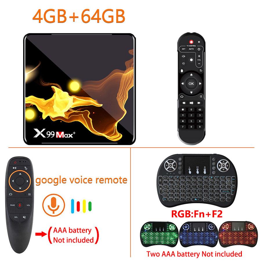 X99 Max+ Tv  Box S905x3 Chip Dual Frequency Wifi Uad Core 4gb Ram 32gb 64gb Wifismart Tv Box 4+64G_UK plug+G10S+I8 Keyboard