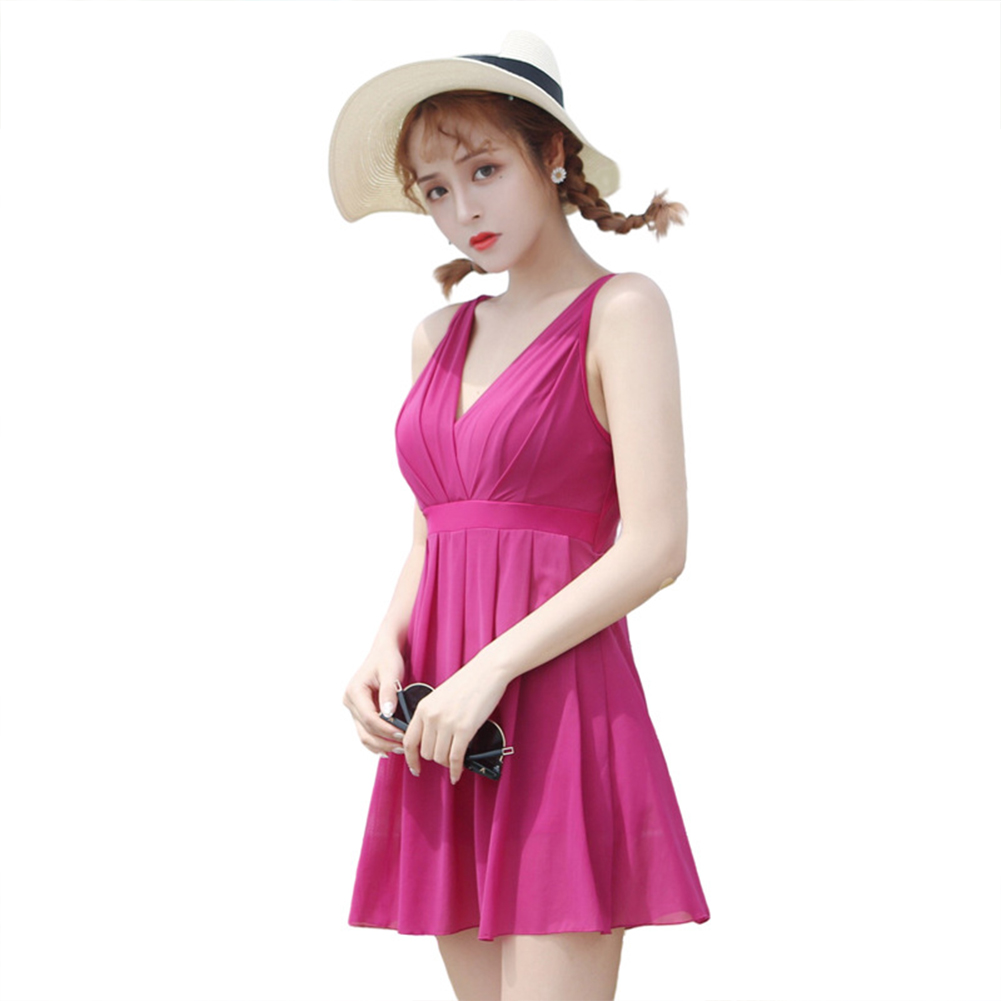 Women  Swimsuit  Skirt-style One-piece Sleeveless Plain Color Gauze Sexy Slimming Swimsuit Rose red_L