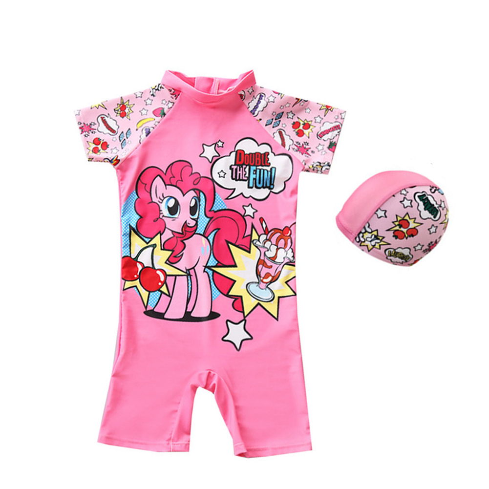 Baby Kids Swimming Suit with Hat - Pink M