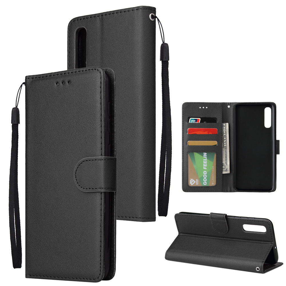 For Samsung A50 Wallet-type PU Leather Protective Phone Case with Buckle & 3 Card Position black