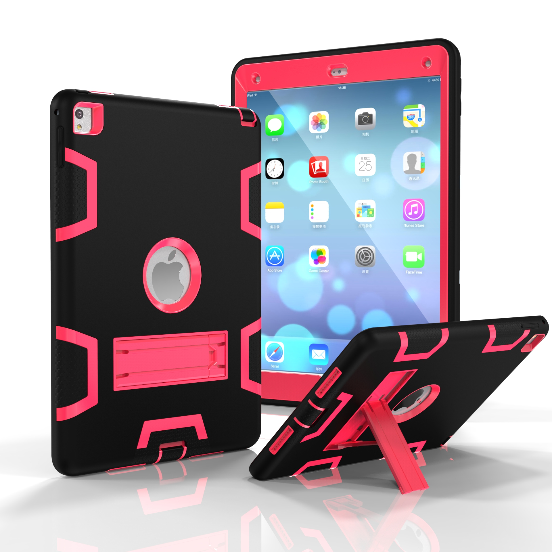 For iPad air2/iPad 6/iPad pro 9.7 2016 PC+ Silicone Hit Color Armor Case Tri-proof Shockproof Dustproof Anti-fall Protective Cover  Black + rose red