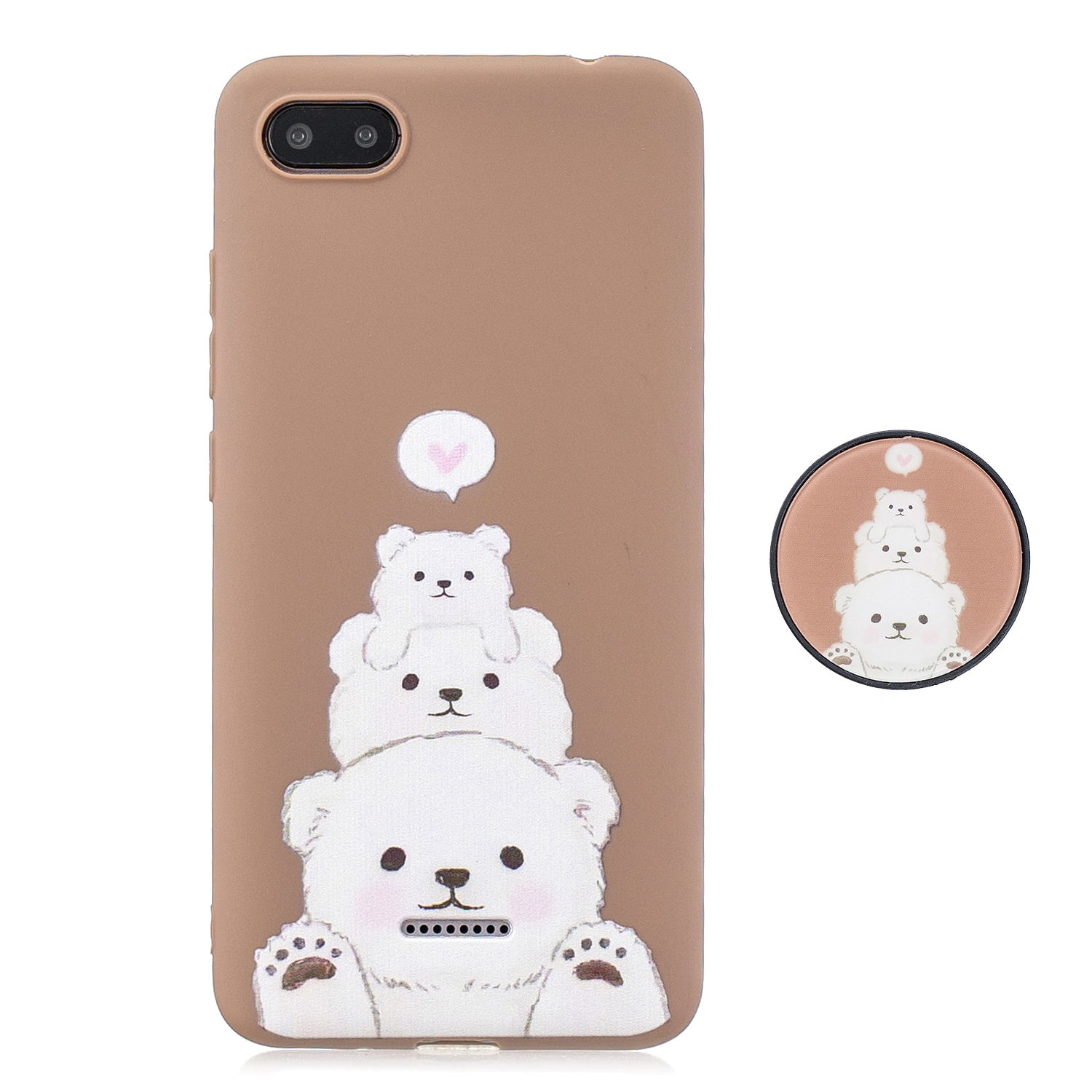 For Redmi 6A Phone Cases TPU Full Cover Cute Cartoon Painted Case Girls Mobile Phone Cover with Matched Pattern Adjustable Bracket 3