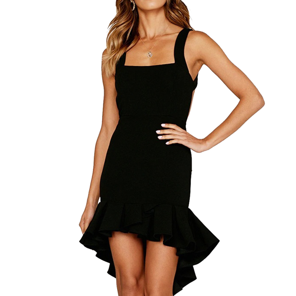Women Summer Sexy Off Collar Irregular Straps Dress