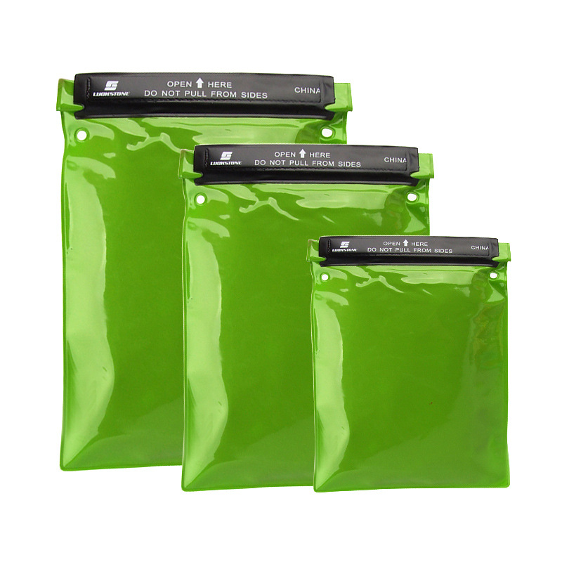 3pcs/Set  Waterproof Bags Water Tight Cases Storage Pouch Document Holder For Camera Mobile Phone Maps For Kayaking Fishing Green Fruit Green_Three-piece set