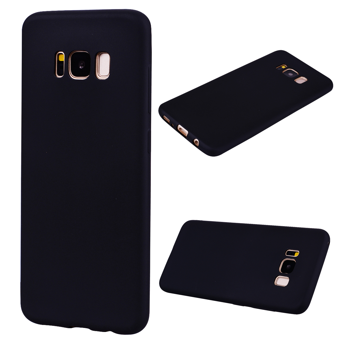 for Samsung S8 Lovely Candy Color Matte TPU Anti-scratch Non-slip Protective Cover Back Case black