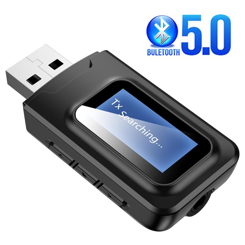 2 IN1 Audio Receiver USB Dongle Bluetooth 5.0 Transmitter With LCD Display Mini Jack 3.5mm AUX USB black