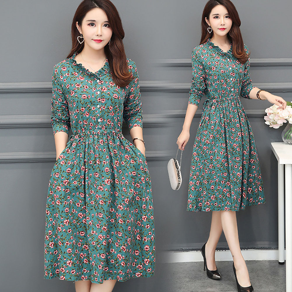 Long Sleeves Leisure Dress Floral Leisure Dress with Sing-breasted Decor and Flouncing Collar green_L