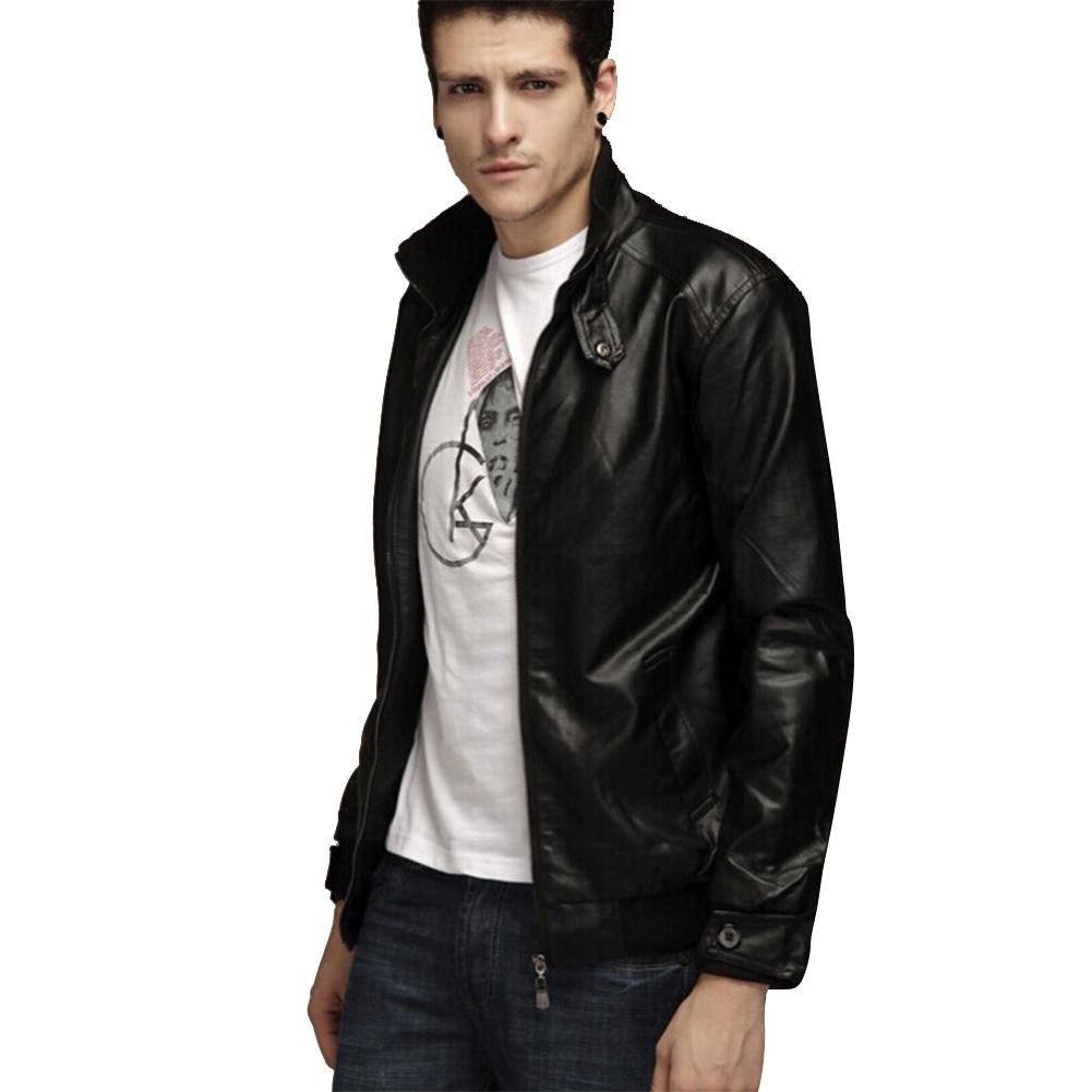 Men Motorcycle Faux Leather Coat Stand Collar Ribbed Hem Slim PU Jacket Overcoat black_XL