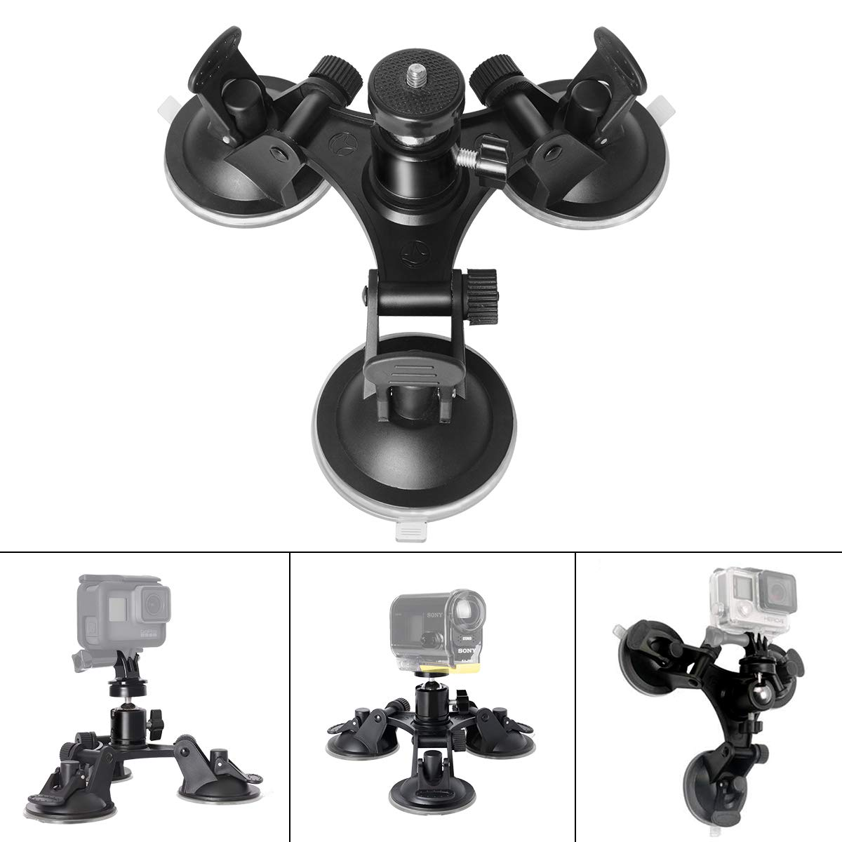 Suction Cup for GoPro Camera Car Glass Sucker Mount Holder Camera Tripods with Angle Adjustable Ball Head for Insta360 ONE  Triangle sucker + adapter + pan/tilt