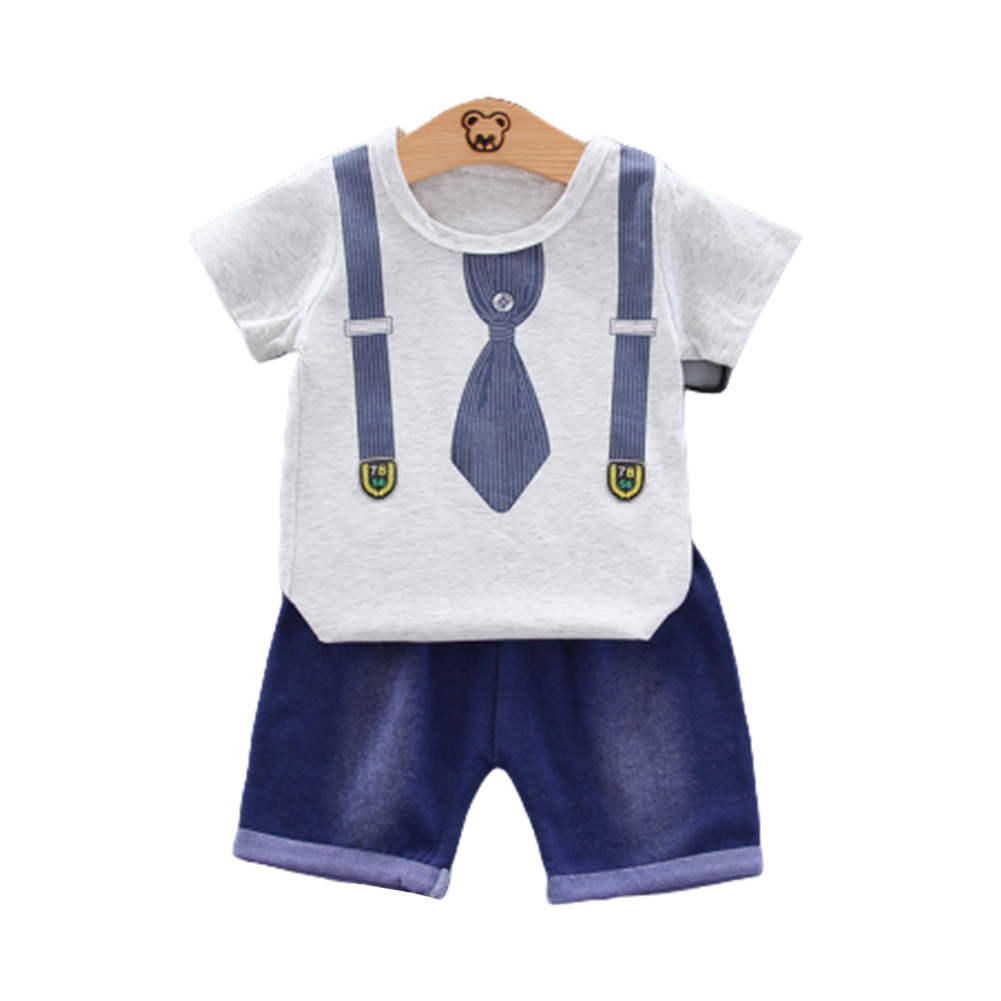 2pcs/set Boys Short-sleeve Suit Cotton Necktie Printed for 0-4 Years Old Baby white_100cm