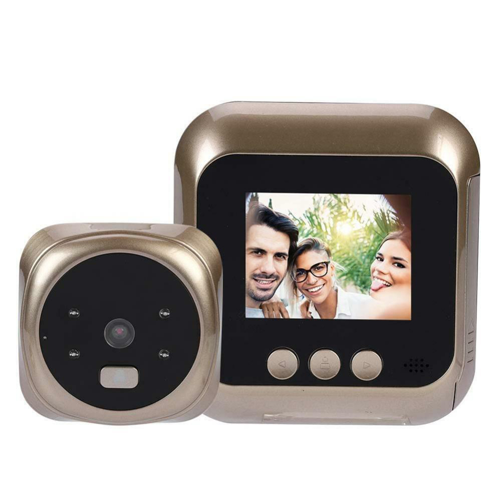 Visual Doorbell Peep Hole 2.4 Inch HD Smart Electronic Doorbell with Function of Taking Phontoes Video and Night Vision Gold