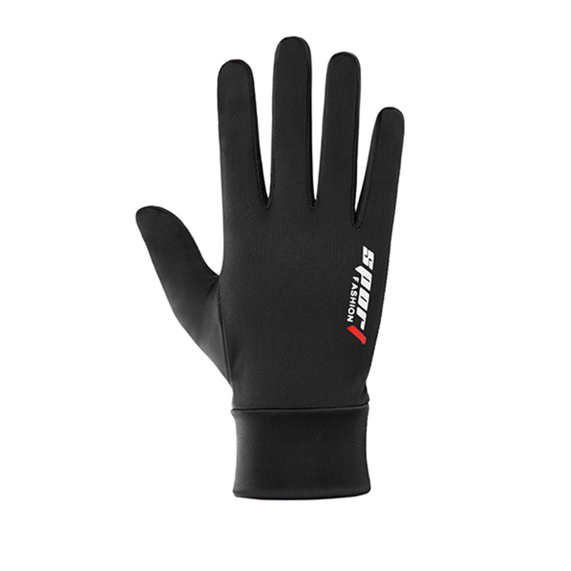 Ice Silk Non-Slip Gloves Breathable Outdoor Sports Driving Riding Touch Screen Gloves Thin Anti-UV Protection Full finger touch screen black_One size