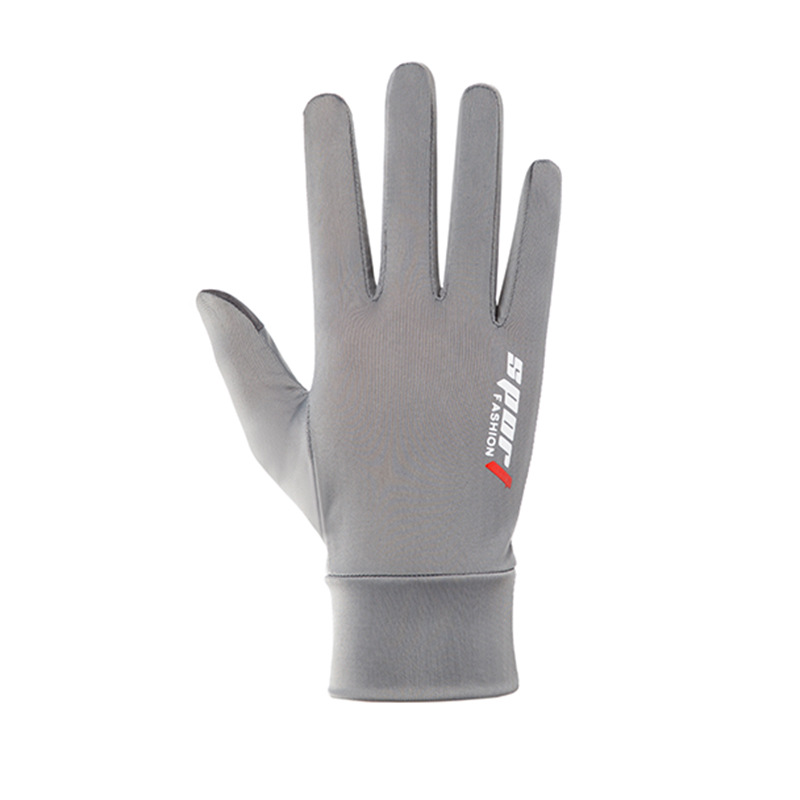 Ice Silk Non-Slip Gloves Breathable Outdoor Sports Driving Riding Touch Screen Gloves Thin Anti-UV Protection Full finger touch screen gray_One size