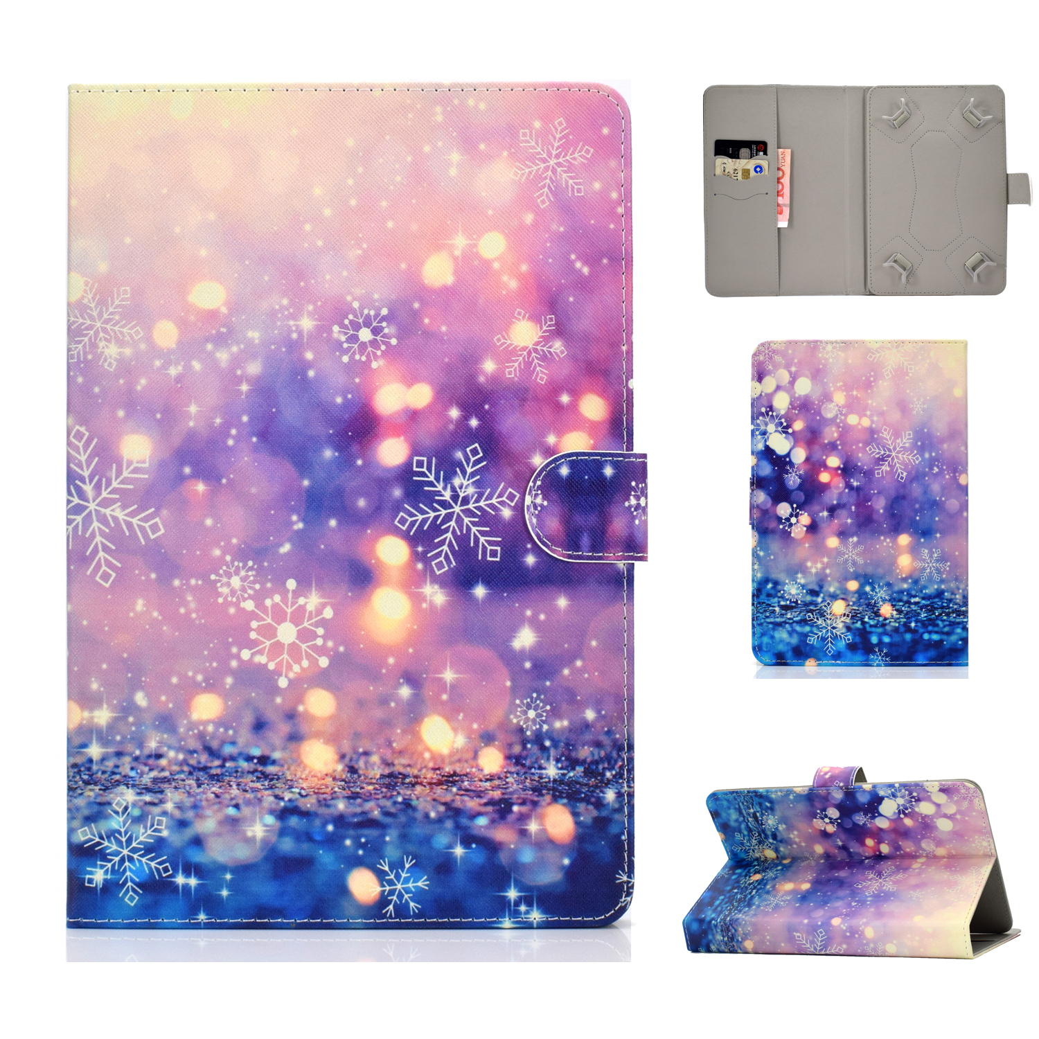 Universal Laptop Protective Case 7Inches Color Painted PU Cover with Front Snap Purple quicksand