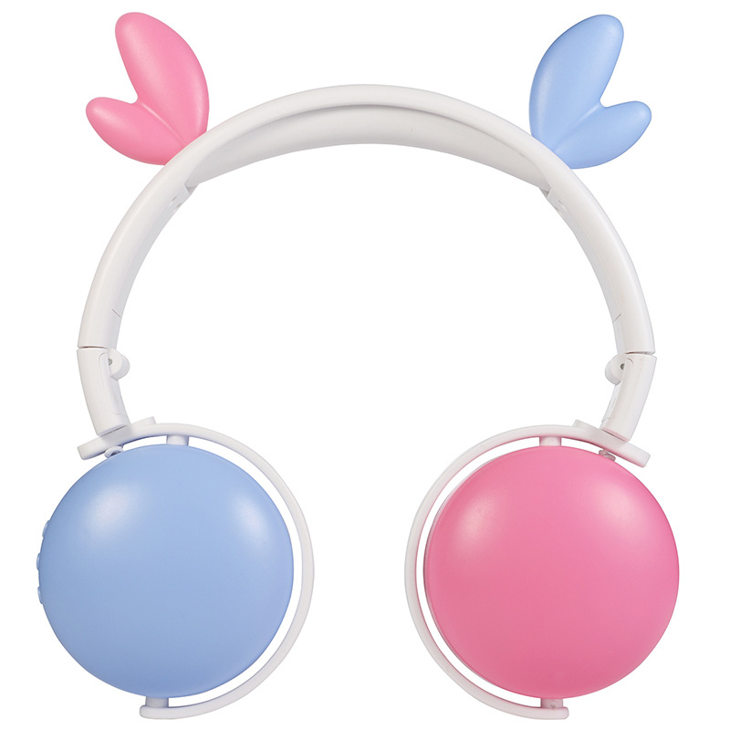 Bluetooth 5.0 Headphone Cute Cat Ears Wireless Folding Earphones Stereo Noise Reduction Children Headset with Mic for Adult Antlers (light blue + pink)