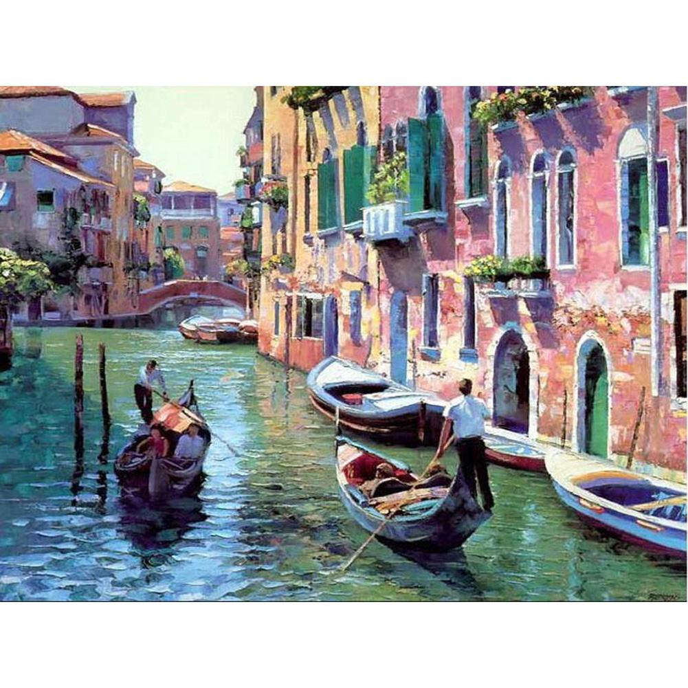 DIY Frameless Venice Landscape Oil Painting Set with Pigment Decoration Without inner frame 40x50cm_Venice