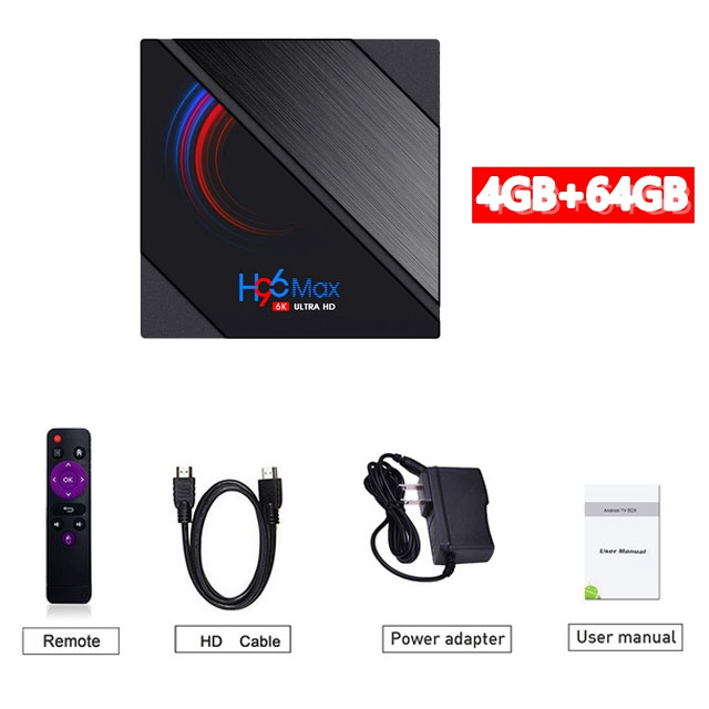 Tv Box Android 10.0 H96 Max H616 Media Player Dual Frequency Wifi Smart  Tv  Box 4+64g 4+64G_US plug