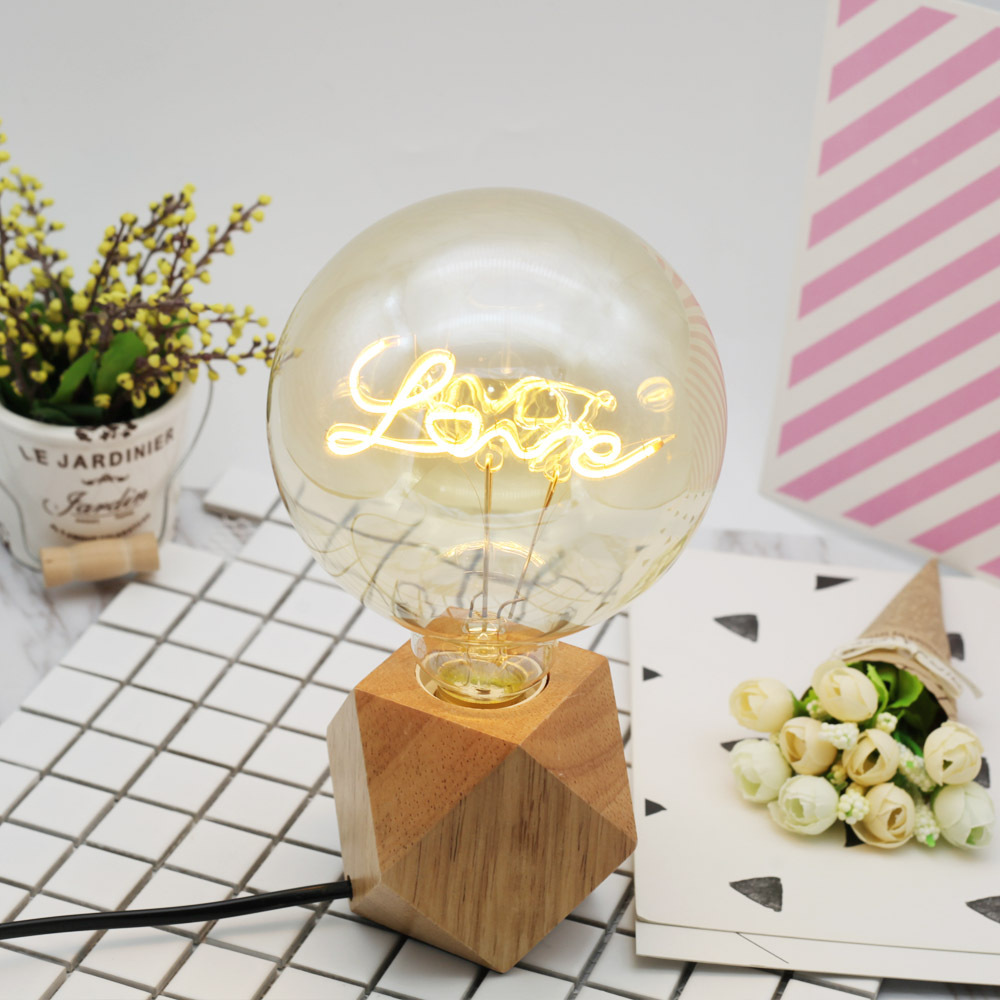 Retro LED Love Letter Lamp G125 Edison Bulb with Yellow Galss Shell for Home Decoration