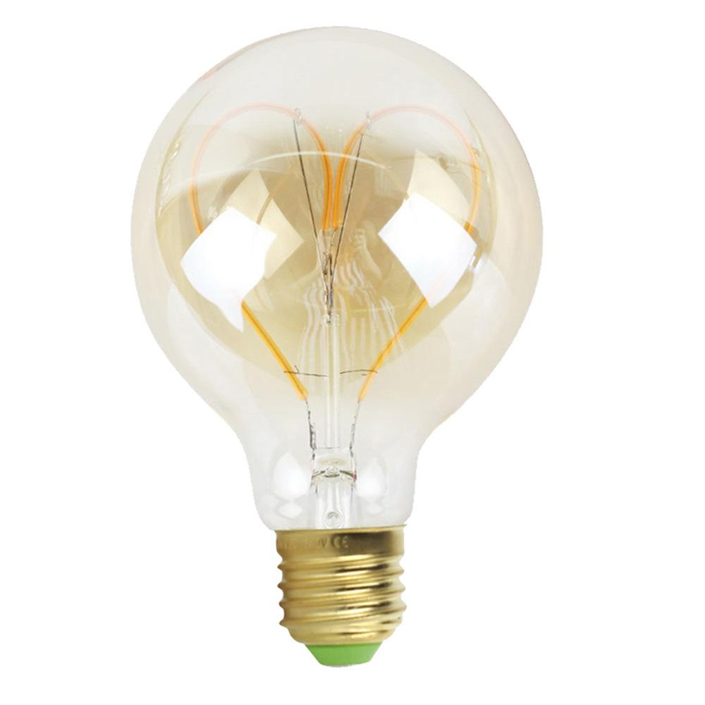 G95 LED Dimmable Retro Loving Heart Filament Edison Bulb Decoration