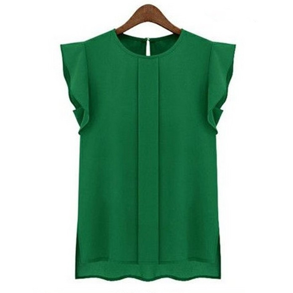Women Summer Casual All-match Solid Color Round Neck Chiffon Shirt green_M