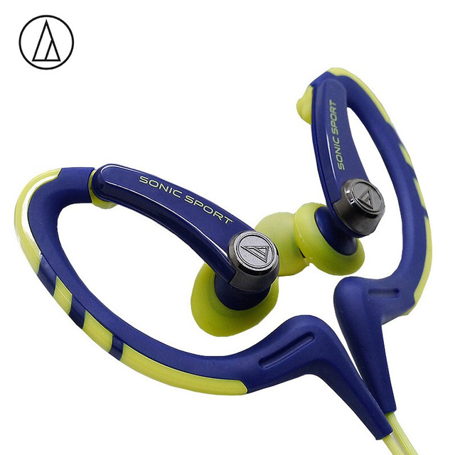 Original Audio-Technica ATH-SPORT1iS In-ear Wired Sport Earphone With Wire Control With IPX5 Waterproof For IOS Android Smartphone Blue