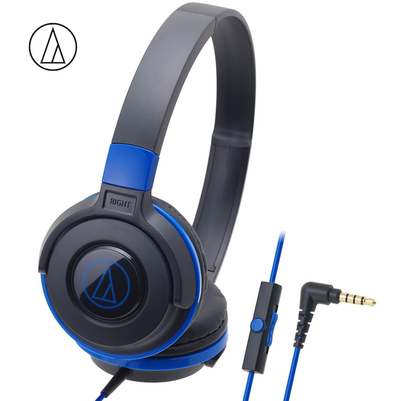 Original Audio-Technica ATH-S100iS Headset Wired Control Game Headphone with Micphone Bass Music Earphone for Cellphones Computer Blue