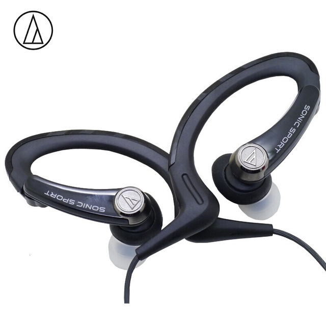 Original Audio Technica ATH-SPORT1iS In-ear Wired Sport Earphone With Wire Control With IPX5 Waterproof For IOS Android Smartphone Black
