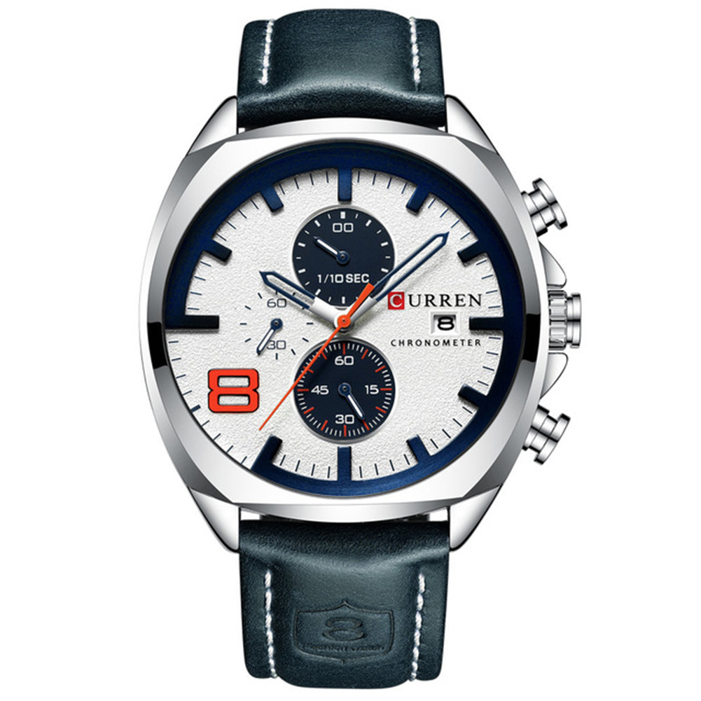 Men Business Quartz Watch Chronograph Date Display Genuine Leather Strap Waterproof Wristwatch Blue