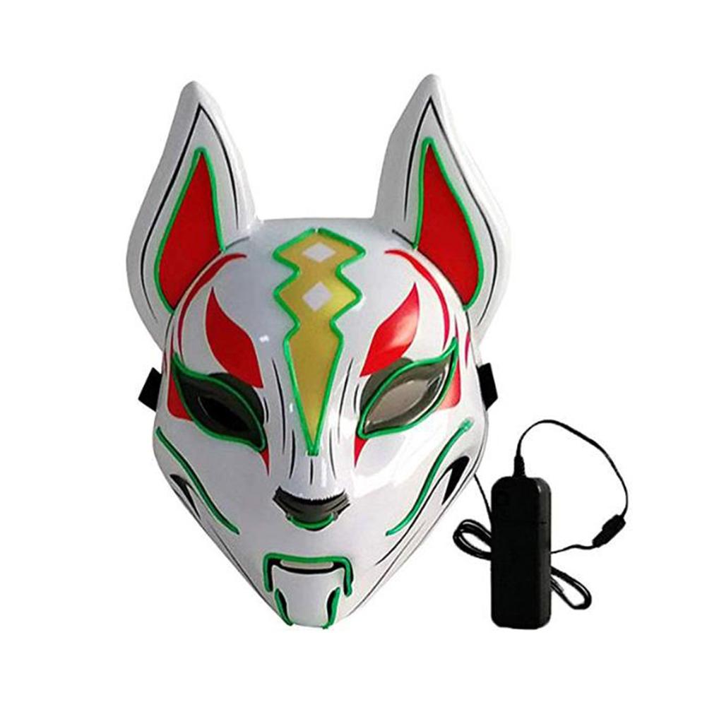 Women Men LED Luminous PVC Mask for Carnival Dance Ball Halloween Christmas 20*24 Grass green