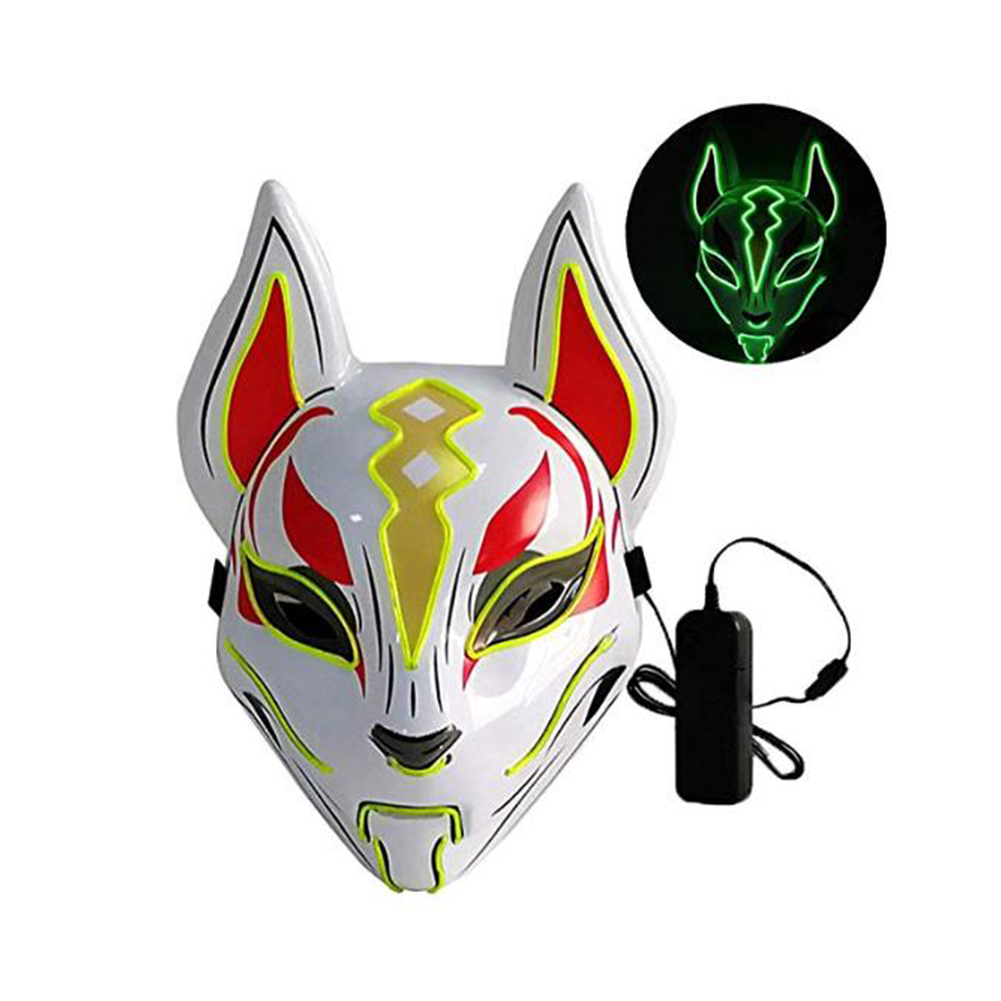 Women Men LED Luminous PVC Mask for Carnival Dance Ball Halloween Christmas 20*24 Fluorescent green