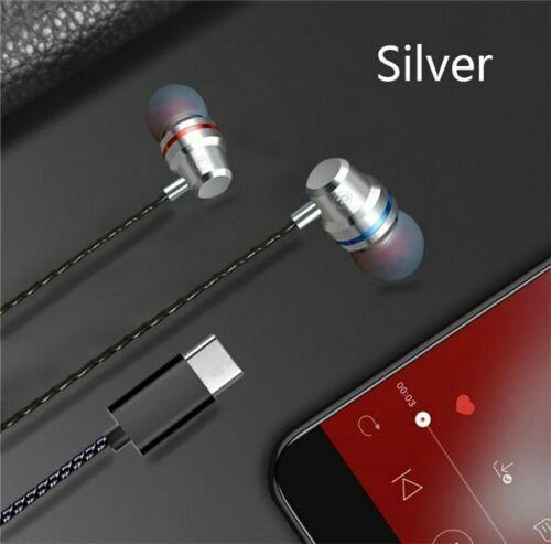 Type C Plug Ear Earphone Headset Headphone Earbuds for Huawei P20 pro HTC Nexus Silver