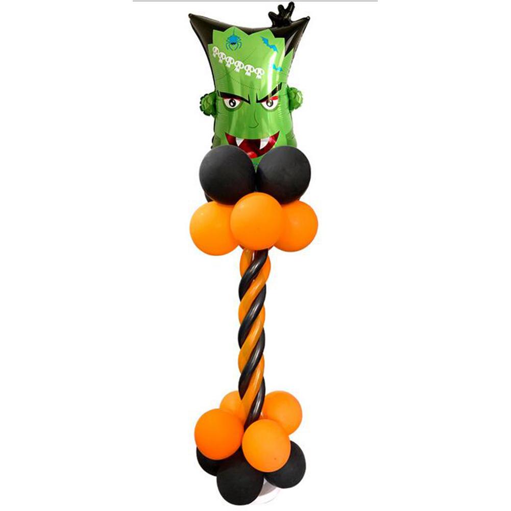 Halloween Spiral Column Aluminum Balloon Set Bat Pumpkin Cartoon Balloon for Mall Bar Supermarket Party Decoration Halloween Spiral Column Set Monster Head
