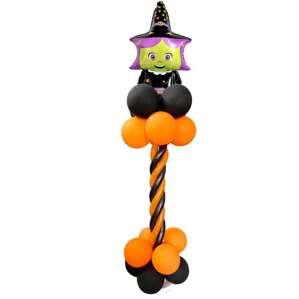 Halloween Spiral Column Aluminum Balloon Set Bat Pumpkin Cartoon Balloon for Mall Bar Supermarket Party Decoration Halloween Spiral Column Set Witch