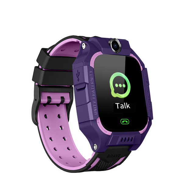 Q19 Children Watch Kids Smart Bracelet LBS Positioning Lacation SOS Camera Phone Voice Chat Smartwatch Built-in Learning Game purple