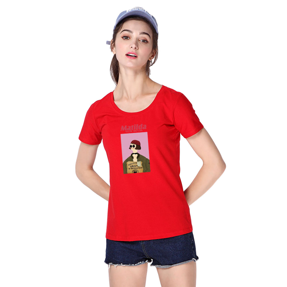 Women Men T Shirt Fashion Loose Short Sleeve Tops for Couple Lovers Red female_L