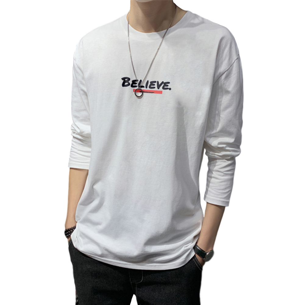 Men's T-shirt Autumn Long-sleeve Thin Type Loose Letter Printing Bottoming Shirt white_M