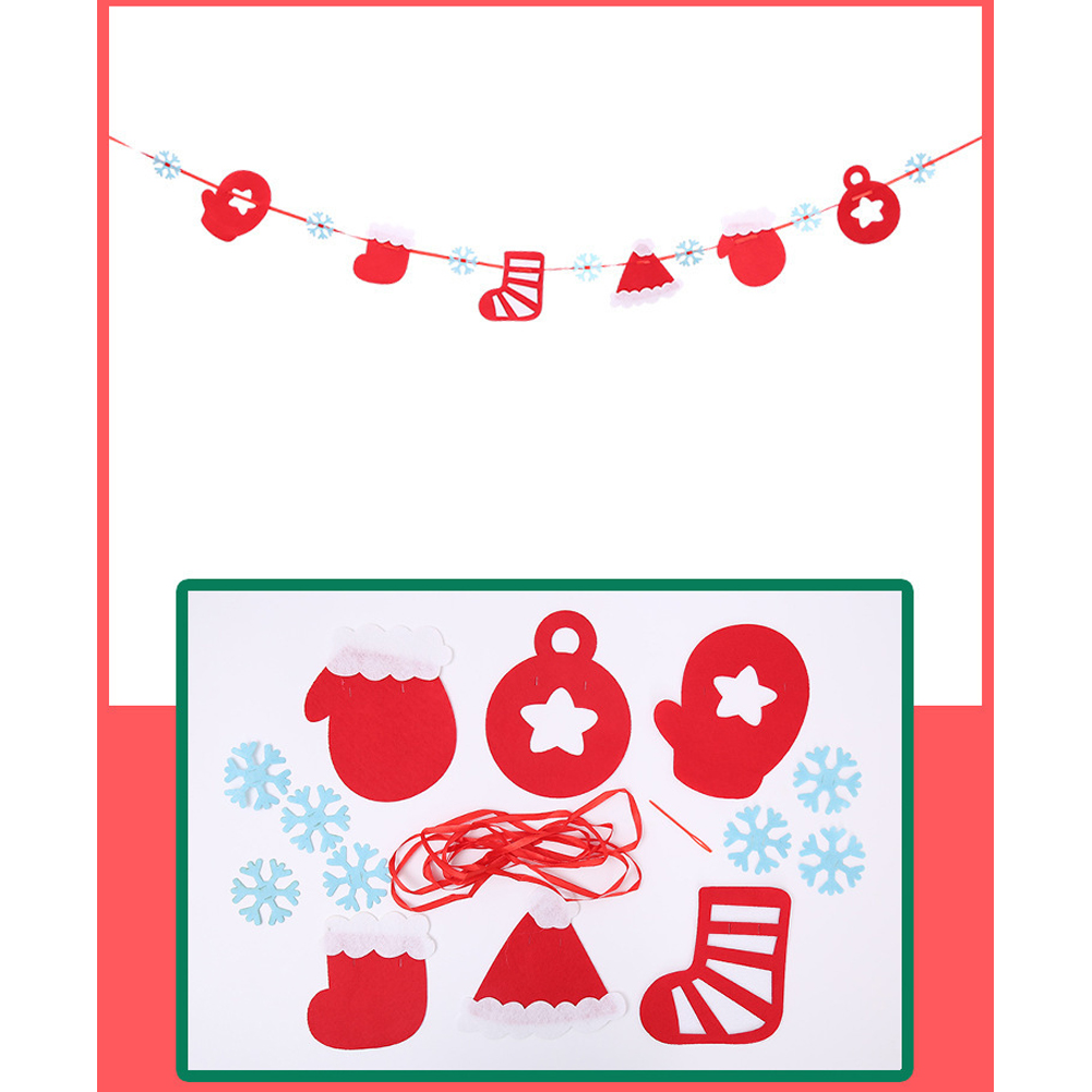 Merry Christmas Decoration Banners Flags Hanging Garlands Non-woven Fabric Triangle Flag Door Window Colored flags Christmas sock, snowflake hanging flag