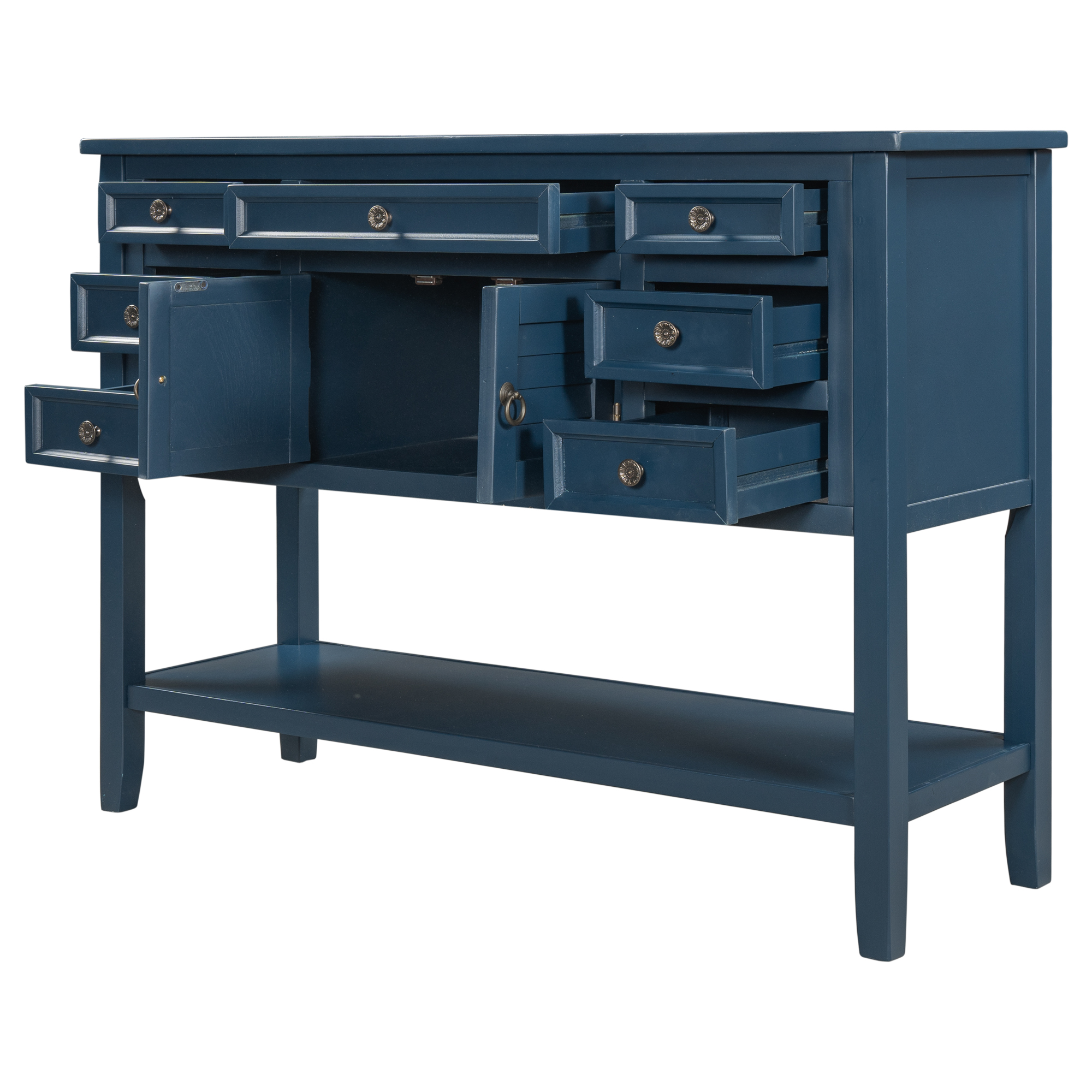 [US Direct] 45-inch Modern Console  Table Living Room Sofa Table With 7 Drawers+ 1 Cabinet +1 Shelf Blue