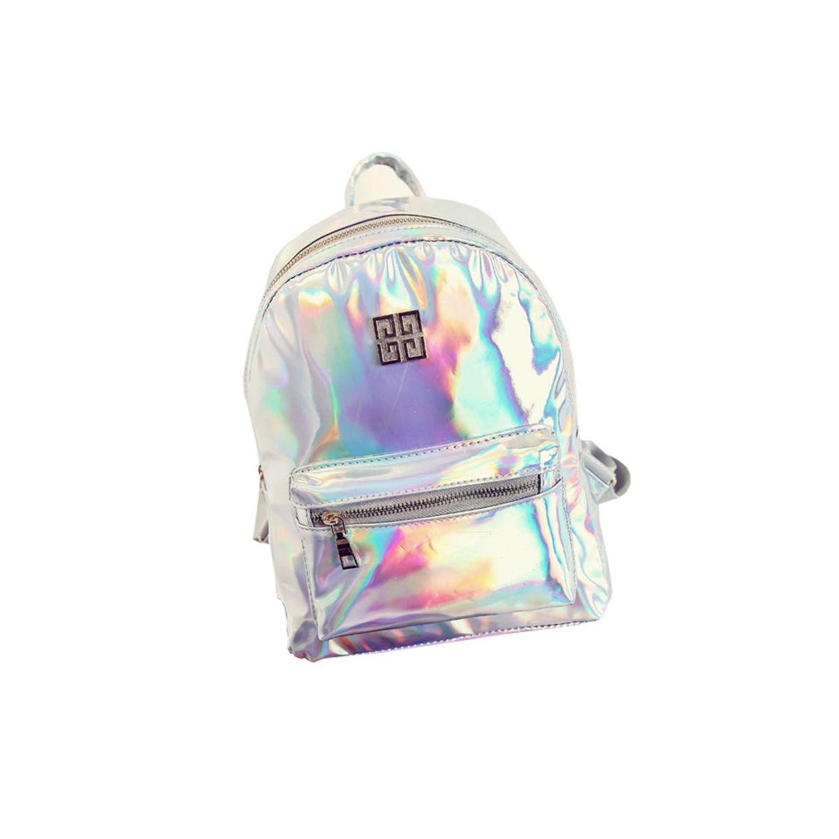 [EU Direct] Women Fashion NewGirl Hologram Holographic Laser PVC School Backpack Bag